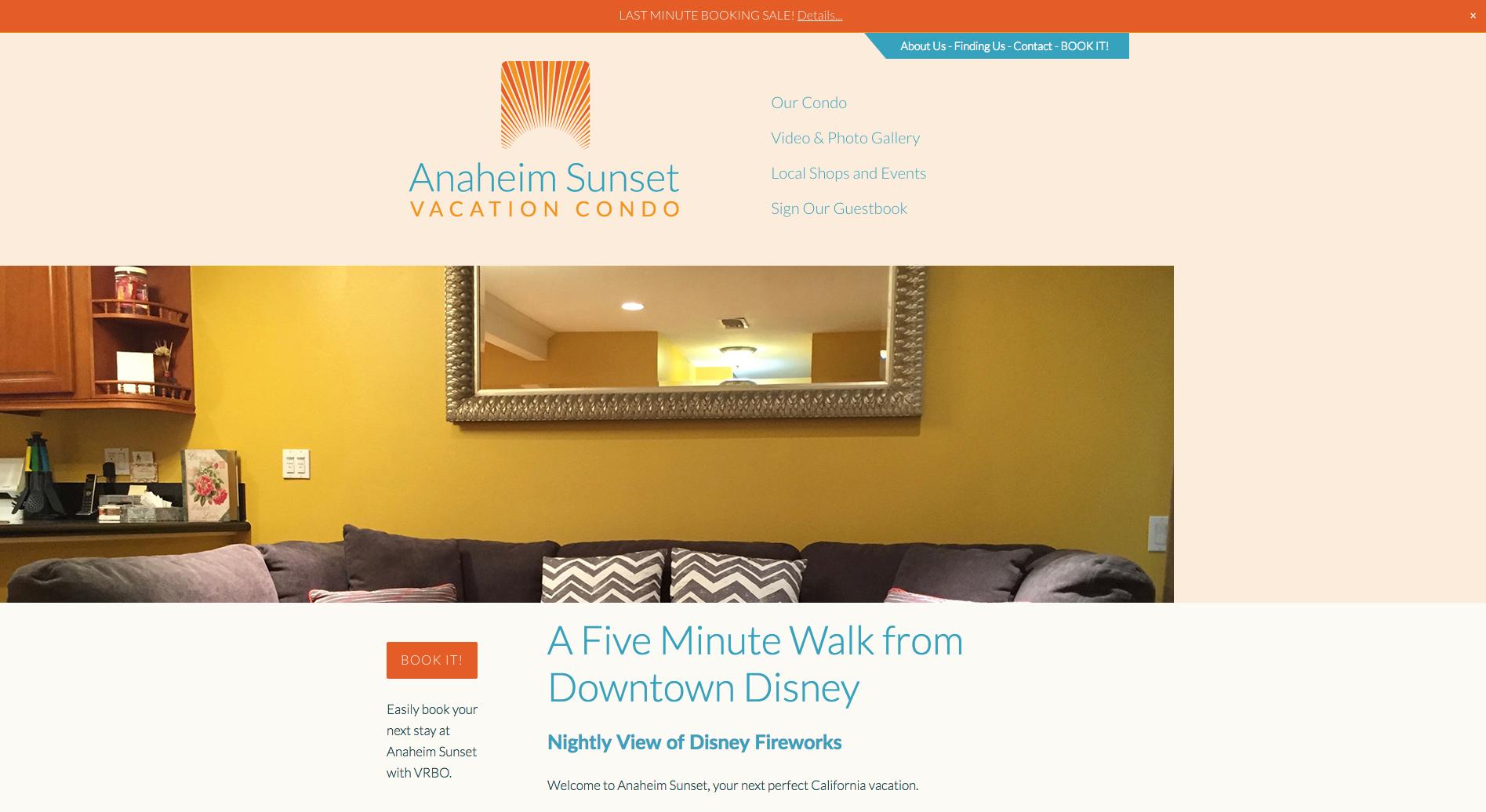 Anaheim Sunset Vacation Condo website, designed by Hoppel Design