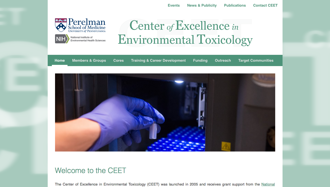 Website for University of Pennsylvania CEET, Designed by Adrian Hoppel