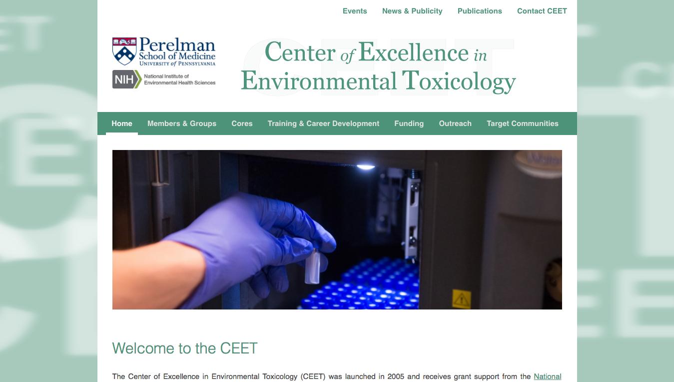 Website for University of Pennsylvania CEET, Designed by Adrian Hoppel