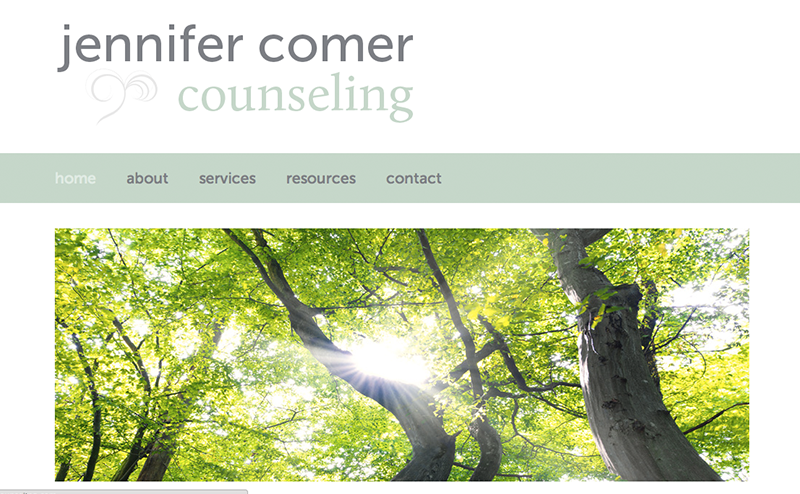 Website for Jennifer Comer Counseling, Designed by Adrian Hoppel
