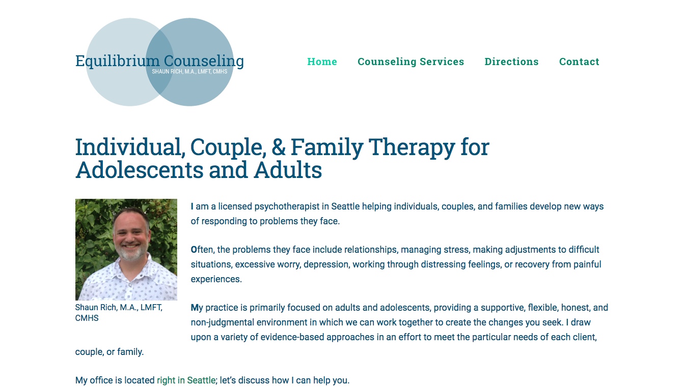 Hoppel Design website for Equilibrium Counseling