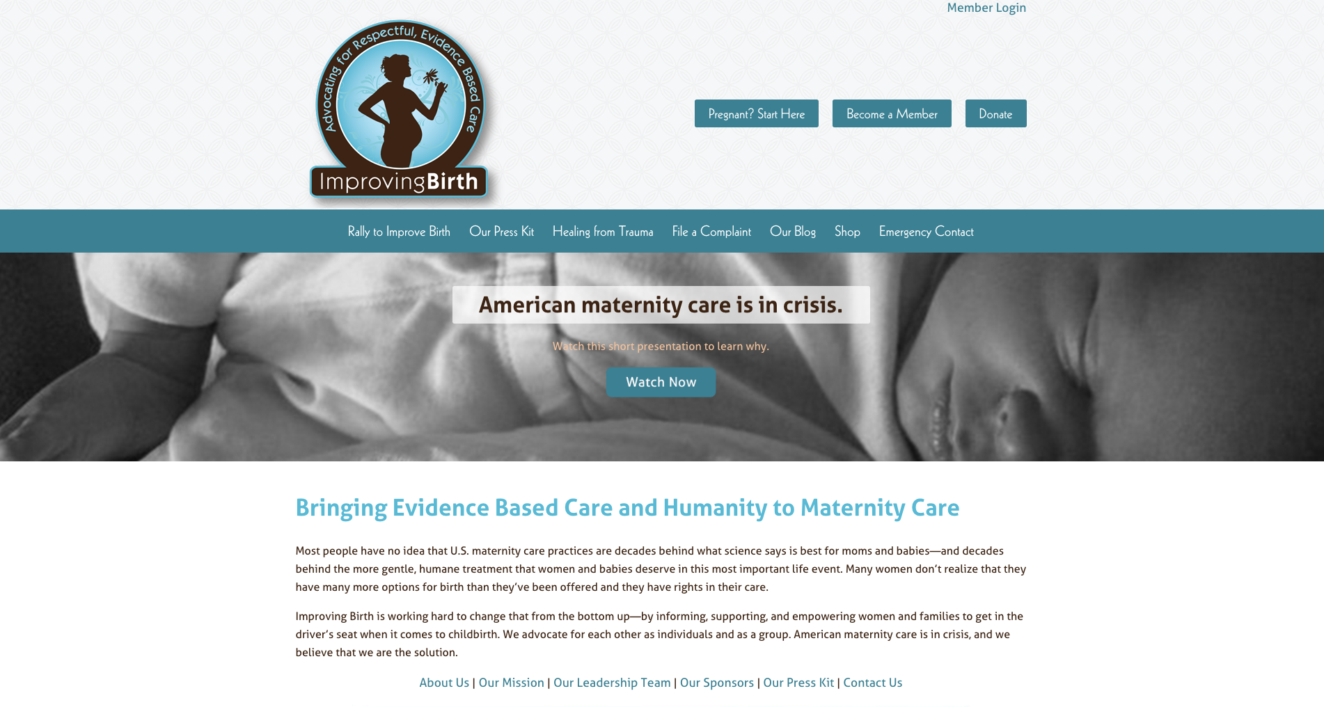 ImprovingBirth website, designed by Hoppel Design