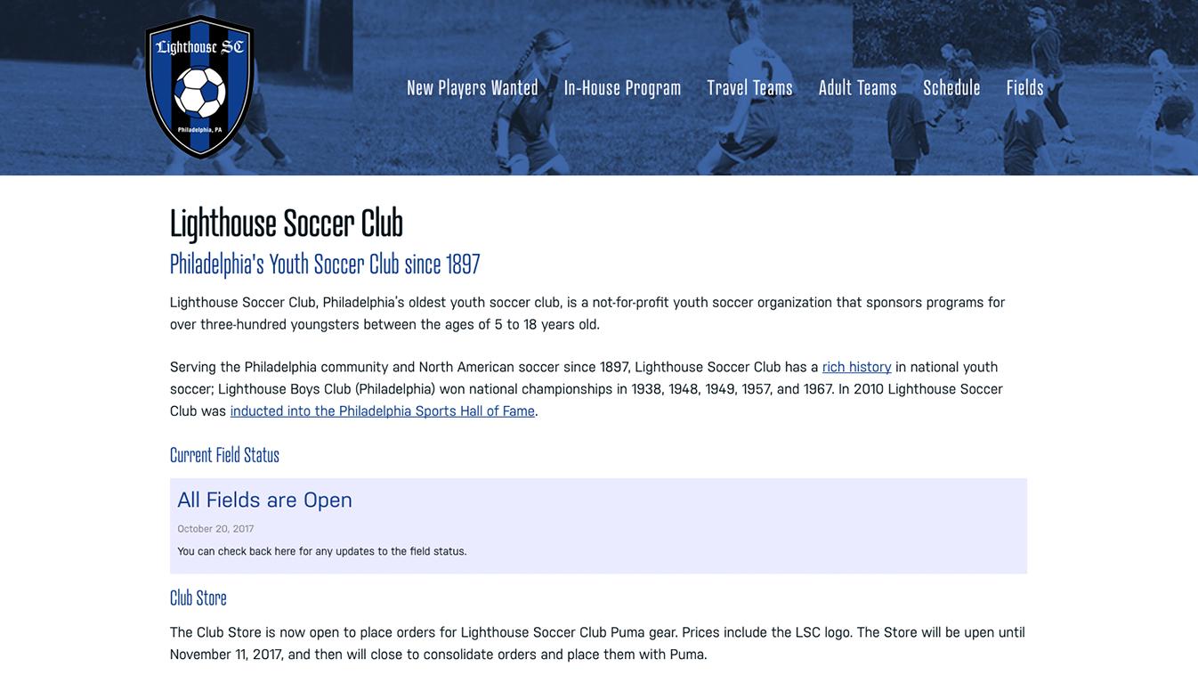Hoppel Design website for Lighthouse Soccer Club