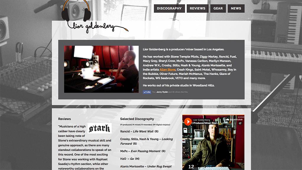 Lior Goldenberg website, designed by Hoppel Design