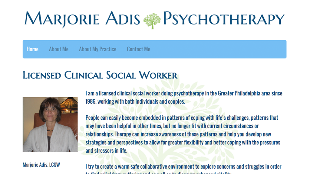 Website for Marjorie Adis Psychotherapy, Designed by Adrian Hoppel