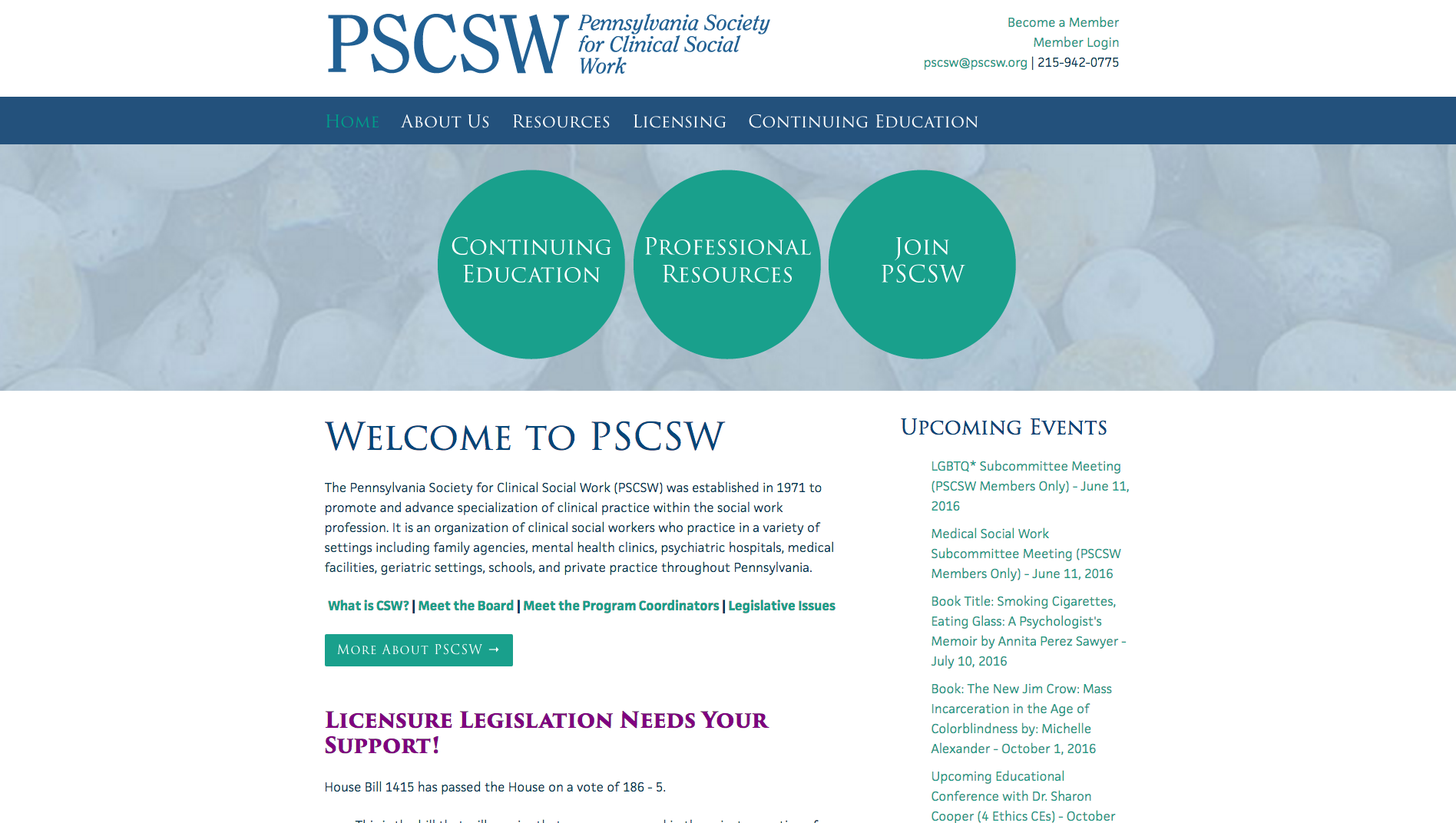PSCSW website, designed by Hoppel Design