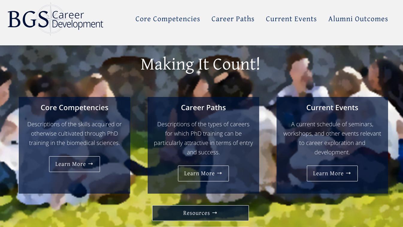 Hoppel Design website for the University of Pennsylvania BGS Career Development