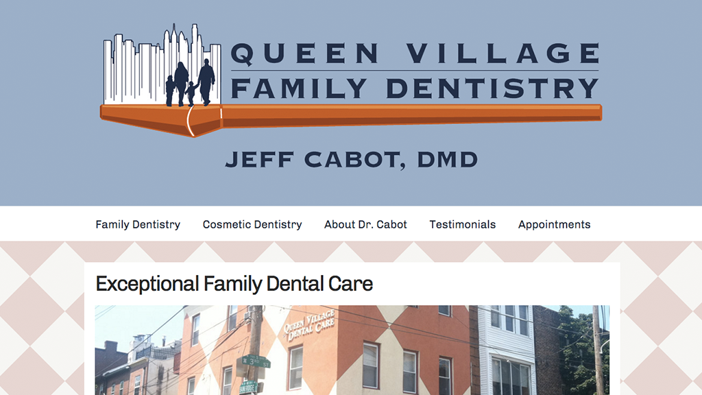 Website for Queen Village Family Dentistry, Designed by Adrian Hoppel