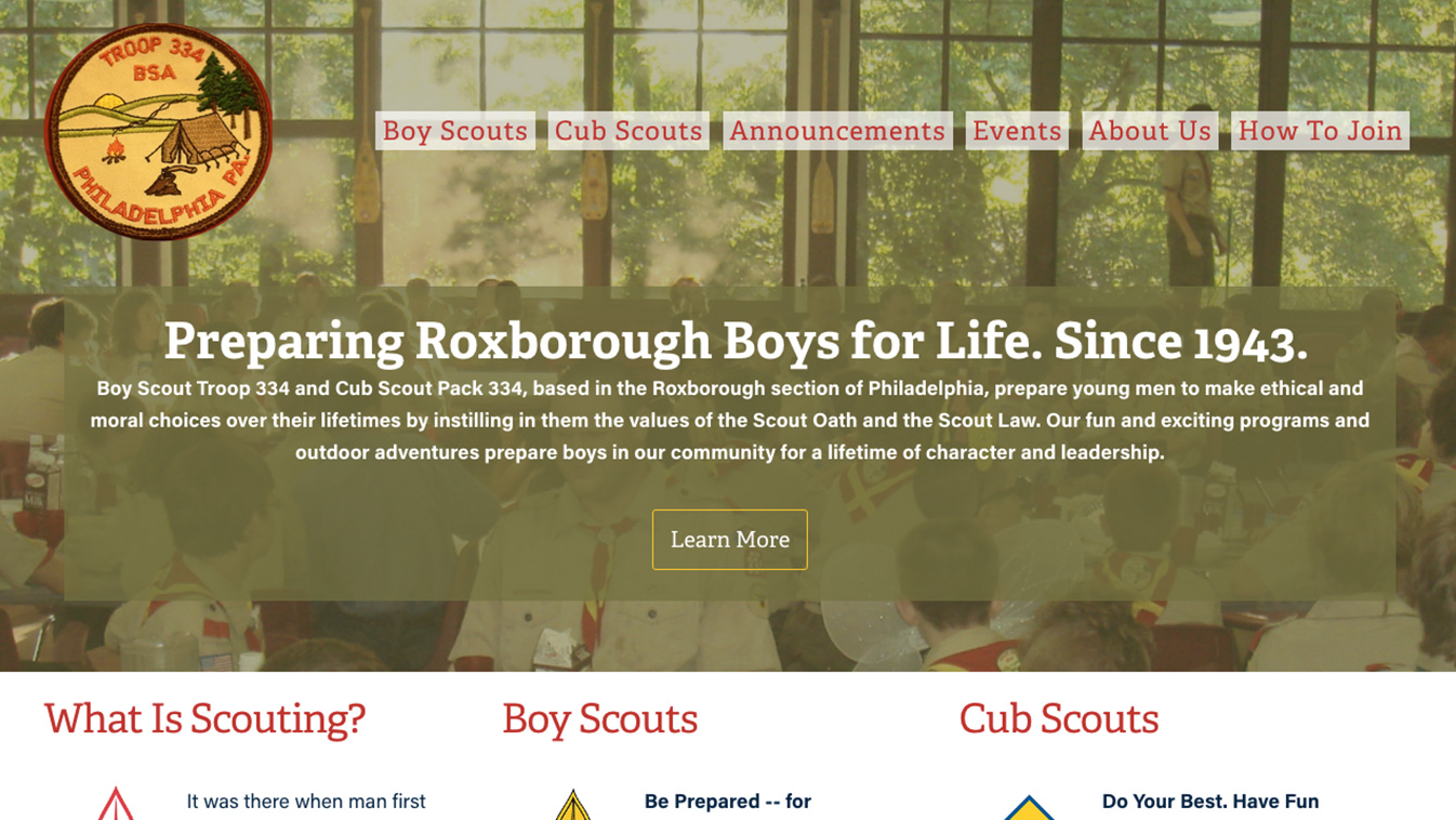 Hoppel Design website for Boy Scout Troop 334 and Cub Scout Troop 334