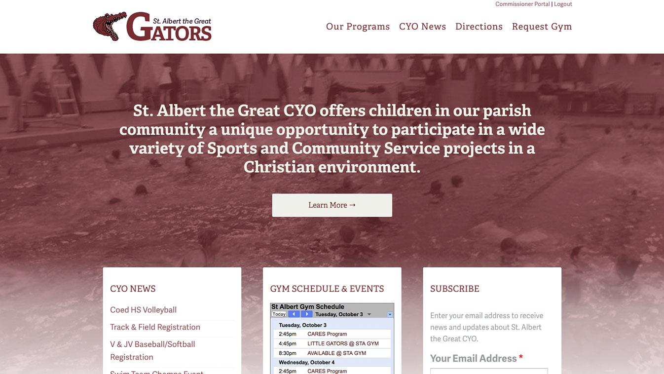 Hoppel Design website for St. Albert the Great CYO