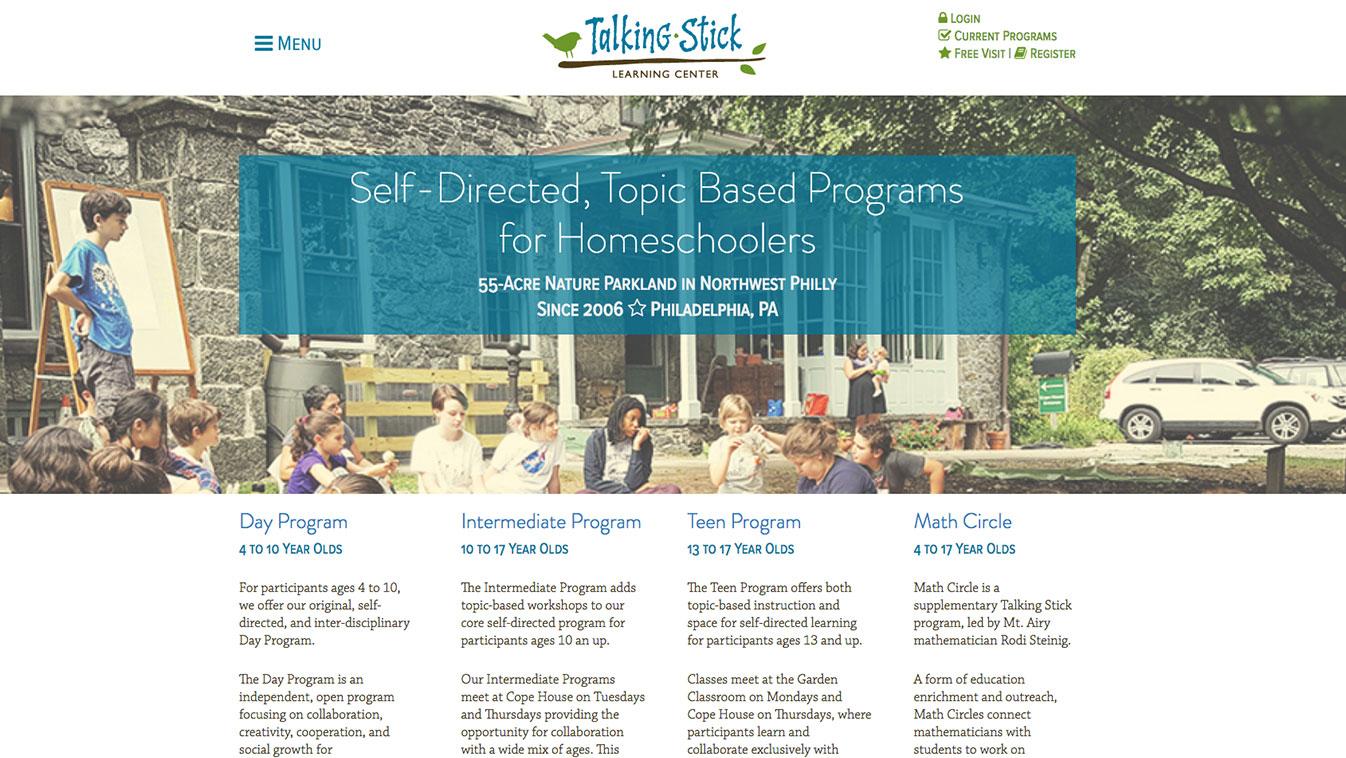 Talking Stick Learning Center website, designed by Hoppel Design