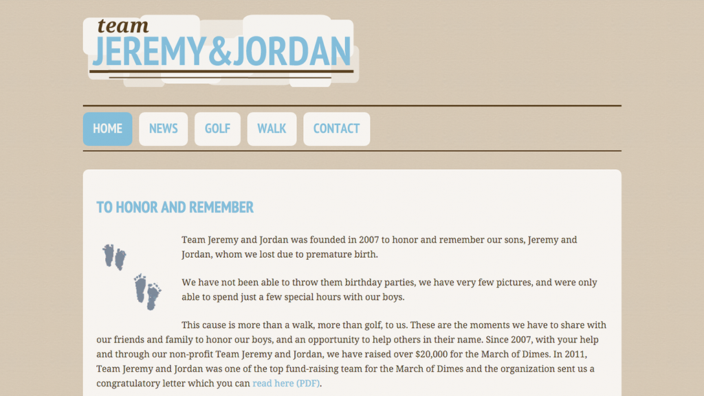 Website for Team Jeremy and Jordan, Designed by Adrian Hoppel