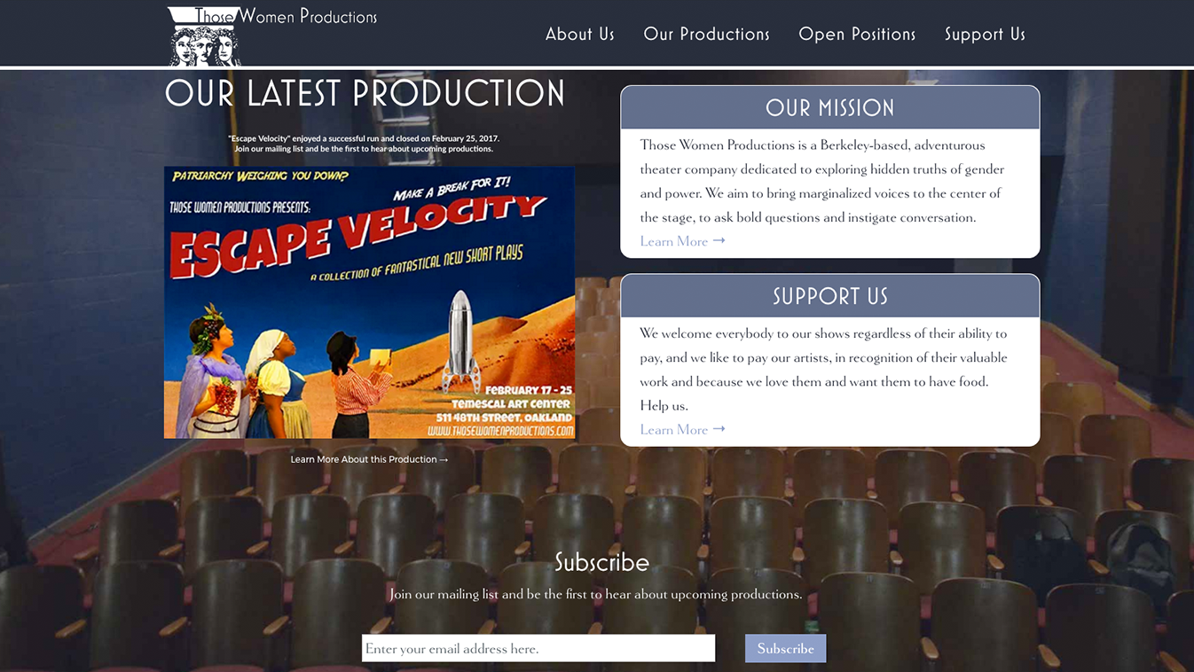 Hoppel Design website for Those Women Productions