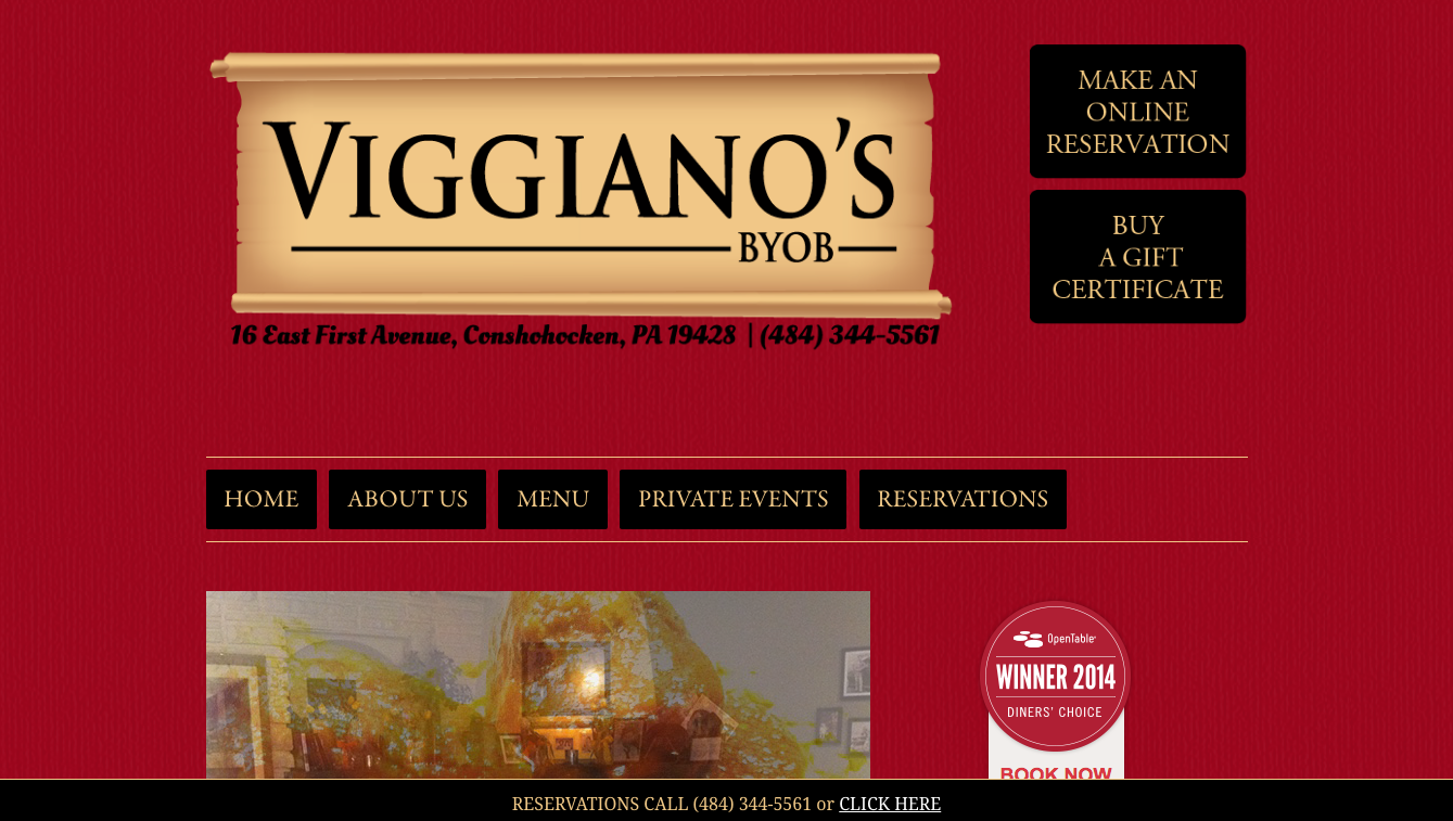 Website for Viggiano's BYOB, Designed by Adrian Hoppel